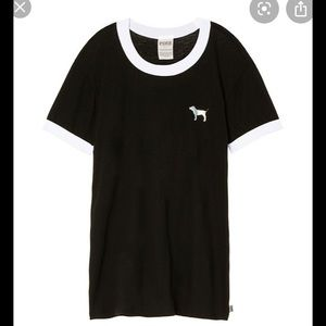 VS Pink Black Snowflake Dog Logo Ringer Tshirt